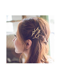 Fashion Gold Color Branch Shape Decorated Simple Design
