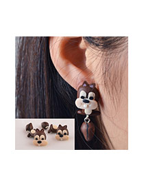 Cute Brown Tail Pendant Decorated Squirrel Shape Earring