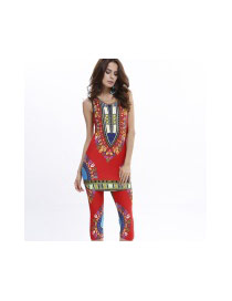 Fashion Red Geometric Shape Pattern Decorated Sleeveless Simple Suits