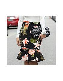 Sexy Black Flower Shape Pattern Decorated Lotus Leaf Fishtail Skirt