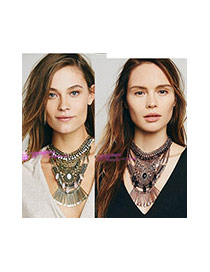 Exaggerated Anti-silver Geometric Shape Pendant Decorated Collar Necklace