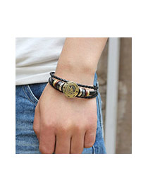 Vintage Black Libra Decorated Multilayer Simple Bracelet