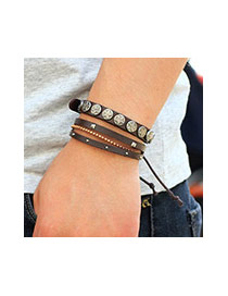 Vintage Coffee Metal Square&star Shape Decorated Multilayer Bracelet