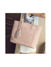 Elegant Pink Tassel Pendant&pocket Decorated Square Shoulder Bag