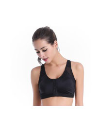 Fashion Black Pure Color Decorated Lingerie Buckles Yoga Sports Vest