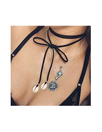 Trendy Black Double Shell Pendant Decorated Multilayer Necklace