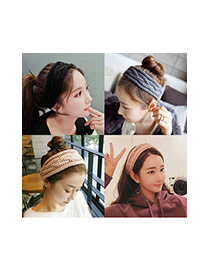 Elegant Coffee Pure Color Decorated Cross Shape Headband