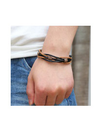 Trendy Black+coffee Weaving Design Multi-layer Color Matching Bracelet