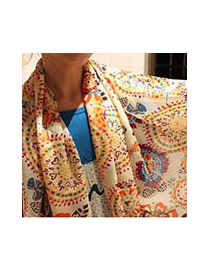 Fashion Yellow Flower Shape Pattern Decorated Simple Scarf