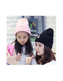 Fashion Black Loving Gesture Pattern Decorated Pure Color Knitting Hat