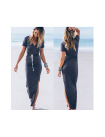 Fashion Dark Gray Pure Color Decorated V-neckline Design Long Dress