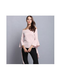 Elegant Apricot Pure Color Strap Of The Shoulder Design Blouse