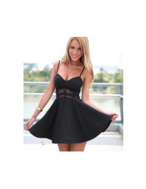 Sexy Black Pure Color Decorated V-necklane Dress