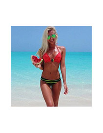 Personality Red Watermelon Pattern Design Strap Of The Shoulder Biniki