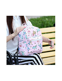 Lovely Dark Blue Cartoon Pattern Decorated Simple Design Backpack