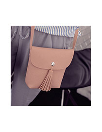 Fashion Gray Tassel Pendant Decorated Pure Color Shoulder Bag