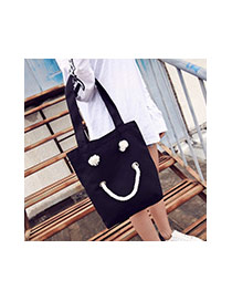 Fashion Yellow Smiling Face Pattern Decorated Pure Color Simple Shoulder Bag
