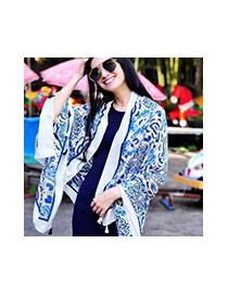 Fashion Multi-color Printing Flower Pattern Decorated Simple Tassel Scarf