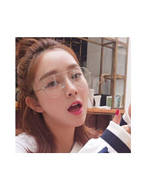 Fashion Black Irregular Frame Decorated Thin Leg Simple Glasses