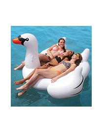 Lovely White Swan Shape Design Color Matching Swim Ring