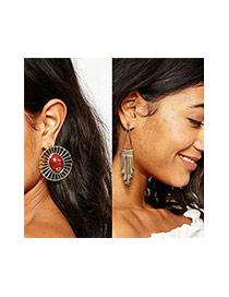 Bohemia Blue Round Shape Gemstone &tassel Decorated Asymmetric Earrings