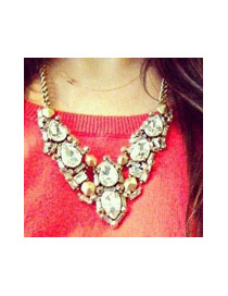 Personalized Antique Gold Water Drop Shape Diamond Decorated Simple Necklace