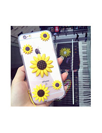 Cute Yellow Sunflower&smiling Face Decorated Transparent Iphone7 Case