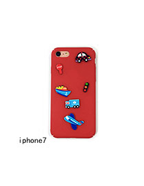 Cute Red Cartoon Vehicle Decorated Pure Color Iphone7 Case