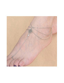 Vintage Silver Color Chinese Knot Shape Decorated Multilayer Design Alloy Fashion Anklets