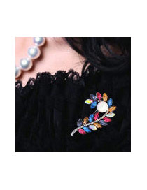 Fashion Multi-color Oval Shape Diamond Decorated Flower Shape Color Matching Brooch