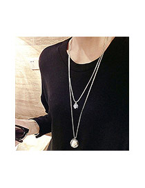 Fashion Silver Color Round Shape Decorated Double Layer Necklace
