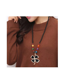 Fashion Multi-color Clover Pandent Decorated Simple Sweater Necklace
