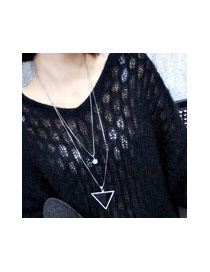 Sweet Black Diamond&triangle Shape Pendant Decorated Double Layer Necklace