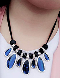 Fashion Sapphire Blue Diamond Decorated Color Matching Simple Necklace