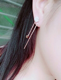 Fashion Rose Gold Square Shape Decorated Simple Pure Color Earrings