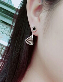 Fashion Rose Gold Hollow Out Fan Decorated Simple Short Earring