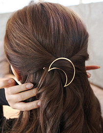 Trendy Gold Color Moon Shape Decorated Pure Color Simple Hair Clip