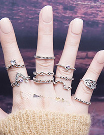 Fashion Silver Color+purple Diamond Decorated Hollow Out Ring(10pcs)