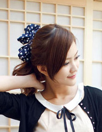 Lovely Navy+white Dot Pattern Decorated Bowknot Hair Band