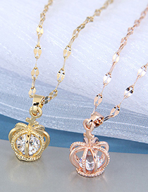 Fashion Rose Gold Color Crown Diamond Alloy Hollow Necklace