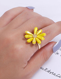 Fashion Blue Flower Crystal Alloy Open Ring