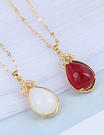 Fashion White Inlaid Jade Drop-shaped Alloy Necklace