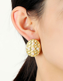 Fashion Gold Color Oval Pearl Braided Alloy Earrings