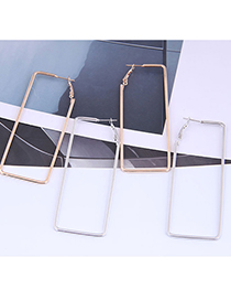 Fashion Silver Color Three-dimensional Rectangular Alloy Smooth Earrings