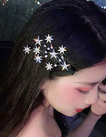 Fashion Silver Color Diamond-studded Star Branch Alloy Hairpin