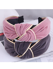 Fashion Taro Purple Broad-brimmed Headband With Knotted Soft Cloth In The Middle