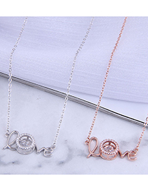 Fashion Rose Gold Micro Inlaid Zircon Letter Cutout Necklace
