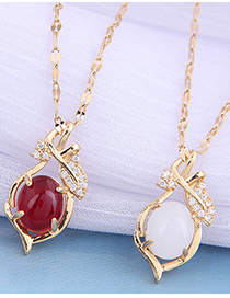 Fashion Red Branch And Leaf Jade Diamond Alloy Necklace