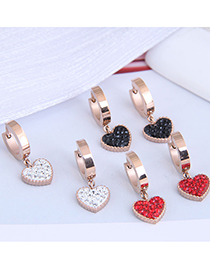 Fashion Black Diamond Diamond Heart Titanium Steel Stud Earrings