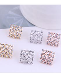 Fashion Rose Gold Color Diamond-set Alloy Hollow Earrings